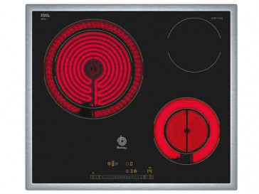 PLACA VITROCERAMICA BALAY 3EB715XQ 60CM 3 ZONAS DE COCCION MARCO ACERO INOXIDABLE