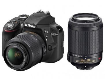 CAMARA REFLEX  NIKON D3300 + 18/55 + 55/200 VR + MOCHILLA + LIBRO + CHALECO
