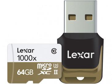 MICRO SDHC 64GB 1000X UHS-II + LECTOR USB 3.0 LSDMI64GCBEU1000R LEXAR