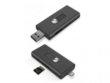 LECTOR MICRO SD CONEXION LIGHTNING Y USB PARA IPHONE BXLINKIP KSIX