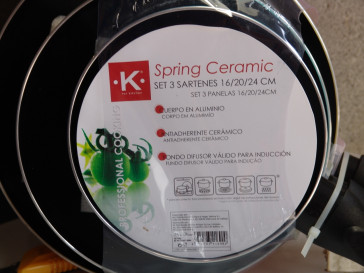 JUEGO 3 SARTENES SPRING CERAMIC FOR KITCHEN