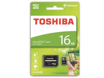 MICRO SDHC 16GB CLASE 4 + ADAPTADOR (THN-M102K0160M2) TOSHIBA