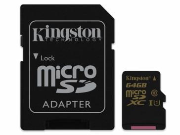 MICRO SDXC 64GB CLASE 10 + ADAPTADOR (SDCA10/64GB) KINGSTON