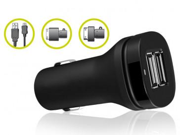 PACK CARGADOR COCHE USB/CABLE MICROUSB PARA SMARTPHONE/GALAXY TAB B0500CRU KSIX