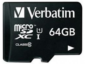 MICRO SDXC 64GB CLASE 10 + ADAPTADOR 44084 VERBATIM