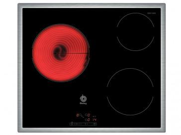 PLACA VITROCERAMICA BALAY 3EB-714XR 60CM 3 ZONAS DE COCCION MARCO ACERO