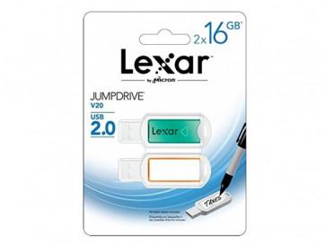 2-PACK JUMP DRIVE 16GB V20 LJDV20-16GABEU2 LEXAR