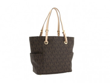 MK LOGO EAST/WEST SIGNATURE TOTE BROWN 30S11TTT4B-200 MICHAEL KORS