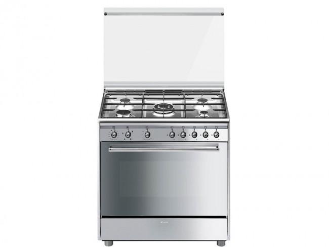 Smeg cocina smeg 5 quemadores encimera y horno a gas for Cocinas teka gas natural