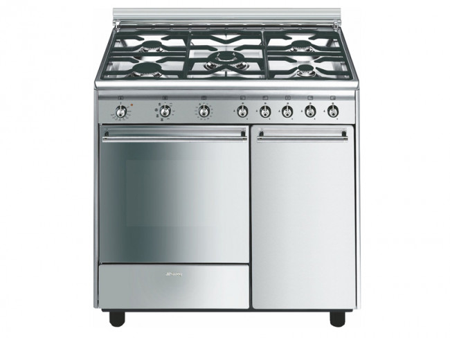 Smeg cocina smeg 5 quemadores encimera y horno a gas for Cocinas de gas butano sin horno
