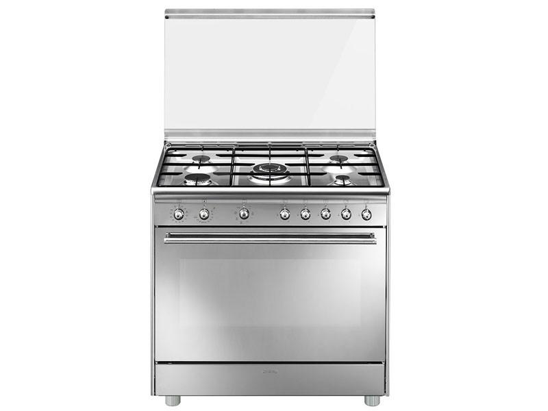 Cocinas Con Horno A Gas | Smeg Cocina Smeg 5 Quemadores Encimera A Gas Natural Y Horno