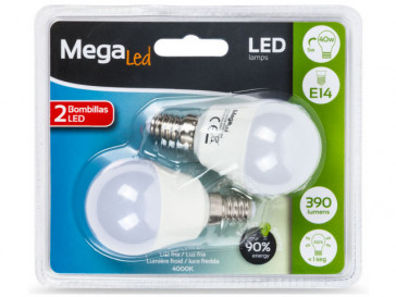 MINIBOMBILLA LED ESFERICA 5W E14 4000K P45-5 MEGALED