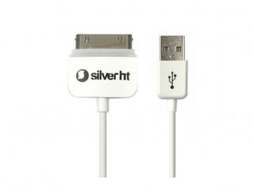 CABLE USB IPHONE/IPAD SMART LED 1.5M BLANCO 93625 SILVER HT