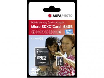 MICRO SDXC 64GB CLASE 10 + ADAPTADOR 10582 AGFA