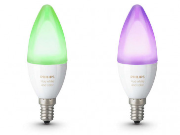 PACK 2 BOMBILLAS LED HUE VELA DIM E14 6,5W LUZ BLANCA Y DE COLOR PHILIPS